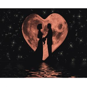 Pink Moon Heart Romance Custom Made Picture Frame