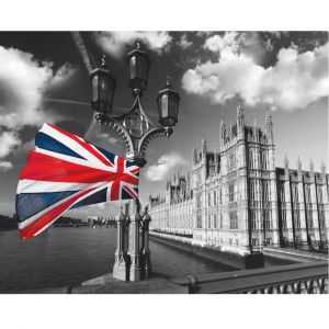 Flag & Houses Of Parliament Custom Made Picture Frame