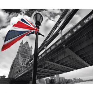British Flag By Tower Bridge Custom Made Picture Frame