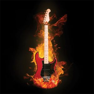 Guitar On Fire Custom Made Picture Frame