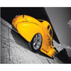 Yellow Hot Rod Car Custom Made Picture Frame