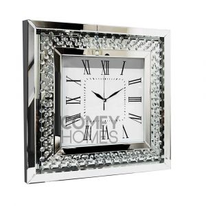 Floating Crystal Mirrored Square Wall Clock