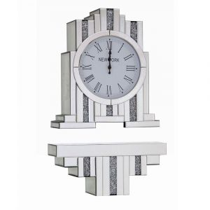 Mirrored Crushed Crystal Mantle Clock With Bracket (Sofia)