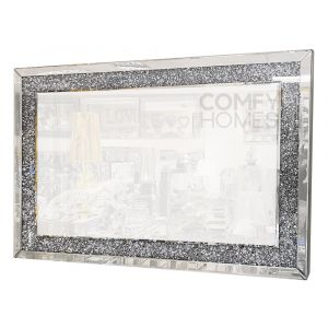 Crushed Crystal 120 x 80cm Flush Surface Wall Mirror (Milano)