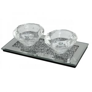 Mirrored Crushed Crystal 2 Tealight Holder (Isabel)
