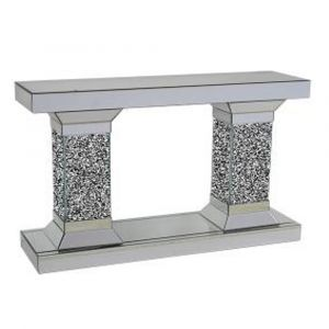 Mirrored Crushed Crystal Mirrored Tower Console Table (Sofia)