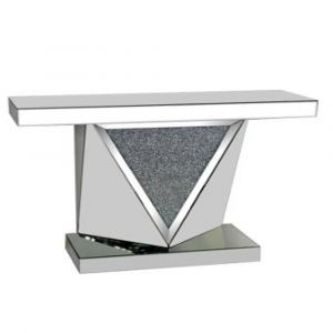 Mirrored Crushed Crystal Triangle Console Table (Sofia) Alternative