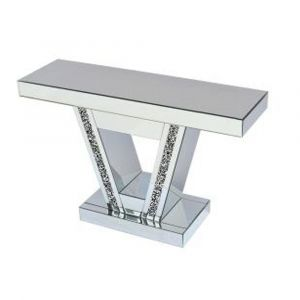 Mirrored Crushed Crystal V Shape Mirrored Console Table (Sofia) Alternative