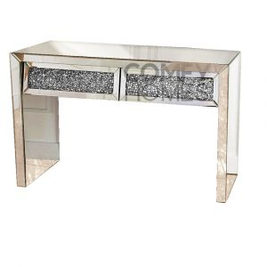 Mirrored Crushed Crystal Two Drawer Slanted Dressing Table (Milano)