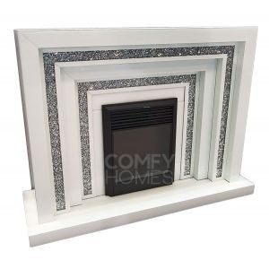 Crushed Crystal White Glass Tiered Fireplace (Milano)
