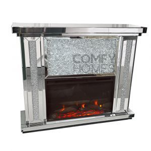 Mirrored Crushed Crystal Fireplace Set (Milano)