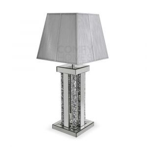 Mirrored Crushed Crystal Tube Table Lamp (Milano)