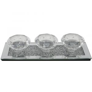 Mirrored Crushed Crystal 3 Tealight Holder (Isabel)