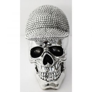 Silver Skull With Hat Ornament