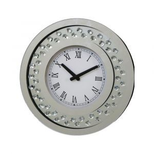 Floating Crystal Small Round Wall Clock