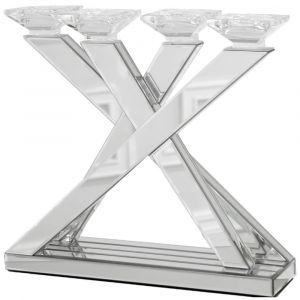 4 Arm Mirrored Candle Holder