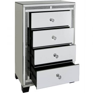 Mirrored Crushed Crystal 4 Drawer Chest (Isabel) Alternative
