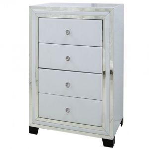White Glass 4 Drawer Chest (Marco)