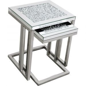 Mirrored Crushed Crystal Ella Nest Of Tables (Milano)