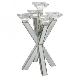 5 Arm Mirrored Candle Holder