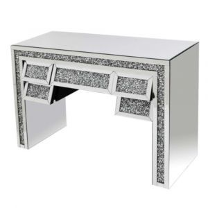 Mirrored Crushed Crystal Slanted Dressing Table (Milano)