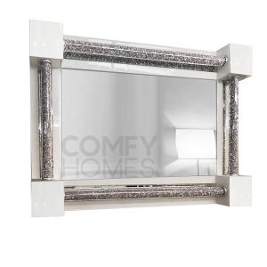 White Crushed Crystal 120 X 80Cm Wall Mirror (Milano)