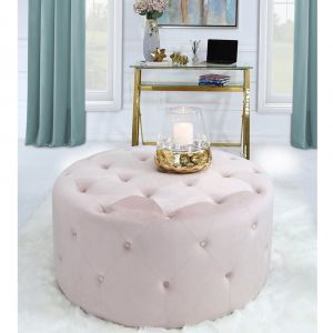 Viena Large Buttoned Round Pink Stool