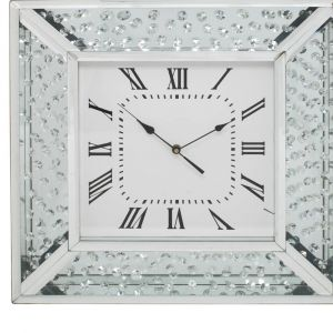 Floating Crystal Mirrored Wall Clock