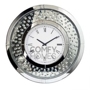 Floating Crystal Mirrored Round Wall Clock