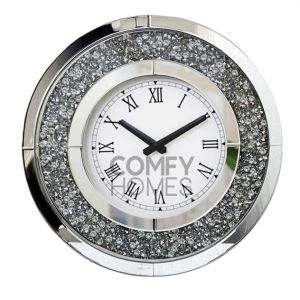 Mirrored Crushed Crystal Round Wall Clock (Milano)