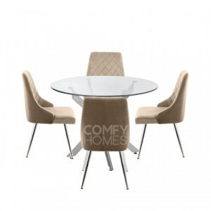 Neve 100cm Round Dining Table And 4 Tierra Chairs