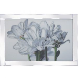 Abstract Flowers Mirrored Picture Frame