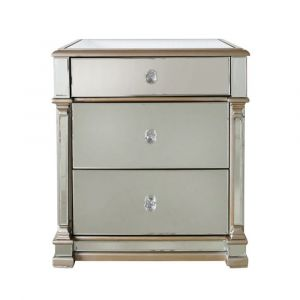 Alivia Champagne Mirrored 3 Drawer Bedside