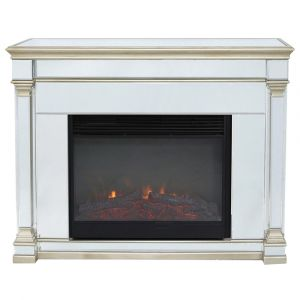 Alivia Champagne Mirrored Fireplace