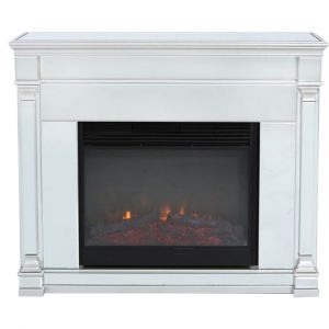Alivia Silver Mirrored Fireplace