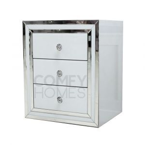 Avah White Glass Bedside