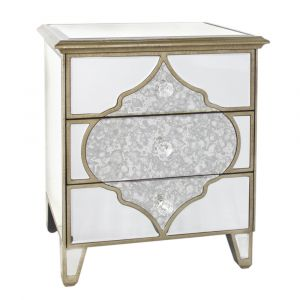 Mirrored Masira 3 Drawer Bedside