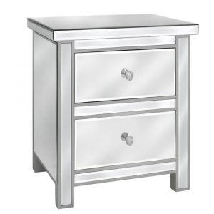 Mirrored Clarisa Bedside