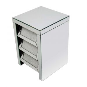 Mirrored Glitter Slanted Drawers Bedside
