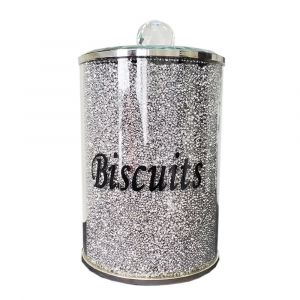 Crushed Crystal Silver and Black Biscuit Tin