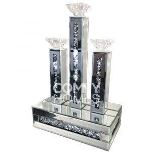 Mirrored Crushed Crystal Candle Holder-3 (Milano)
