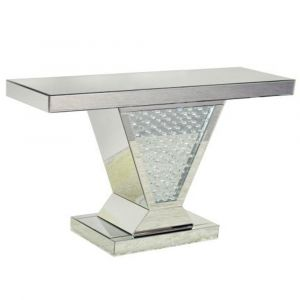Mirrored Floating Crystal V Shape Console Table