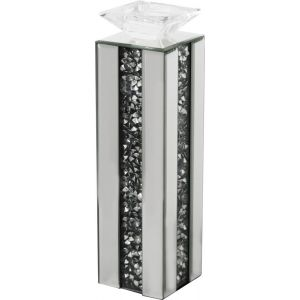 Mirrored Crushed Crystal Candle Holder (Milano)