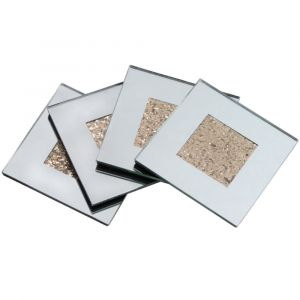 Set Of 4 Gold/Mirrored Coasters