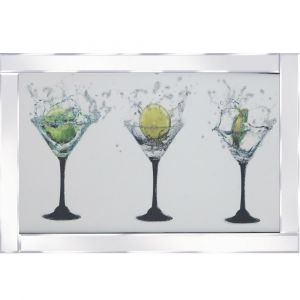 Triple Cocktail Glasses Mirrored Picture Frame