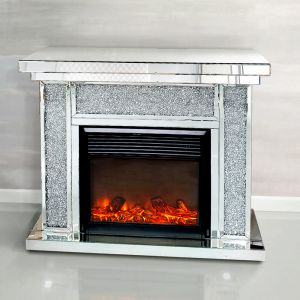 Mirrored Crushed Crystal Column Fireplace (Milano) Alternative