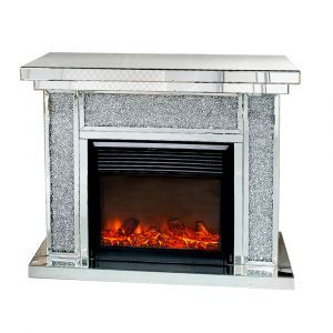 Mirrored Crushed Crystal Column Fireplace (Milano)