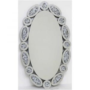 Crushed Crystal 100 X 60Cm Ovals Wall Mirror (Milano)