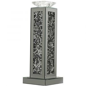 Mirrored Crushed Crystal Rectangle Candle Holder (Milano)