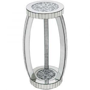 Mirrored Crushed Crystal 2 Tier Round Side Table (Milano)